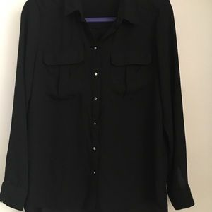 H&M Slight Sheer Black Blouse w/Silver Buttons